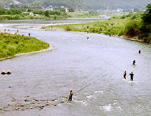 千曲川の鮎釣り風景
